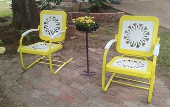 new life for a vintage glider and chairs , outdoor furniture, painted furniture