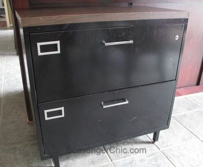 Old Metal File Cabinet Gets A Architectural Style Makeover Diy How To Painted