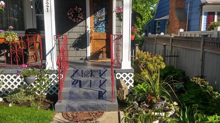 q lighting the exterior of a small house, curb appeal, lighting, outdoor living, Front door with stainglass I made