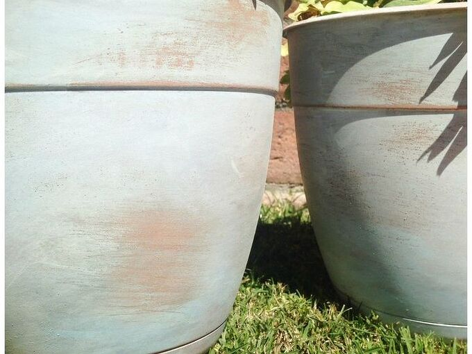 how to age plastic faux terra cotta flower pots, crafts, gardening, how to