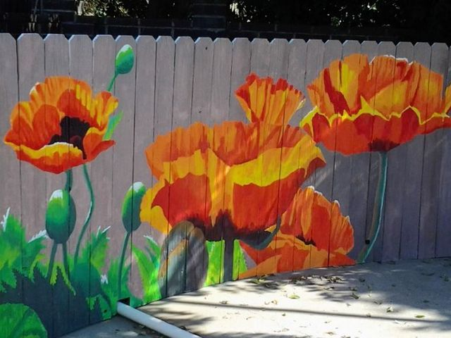 q i saw this photo of a painted fence and thought maybe i d do the same, concrete masonry, exterior home painting, painting