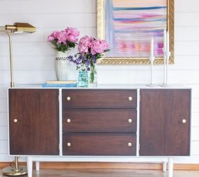 Mid Century Modernized Sideboard W High Gloss Oil Enamel Gel Stain, How To,  Painted
