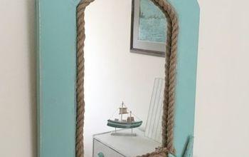 coastal mirror a thrift store find makeover, chalk paint, crafts, wall decor