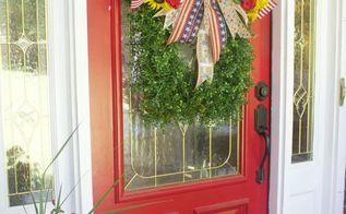 easy diy boxwood patriotic wreath, crafts, patriotic decor ideas, seasonal holiday decor, wreaths