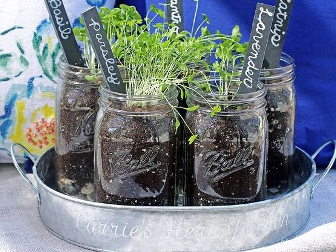 herb garden with personalized tin, container gardening, gardening, how to, mason jars