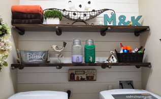 shiplap laundry room makeover, diy, laundry rooms, shelving ideas, wall decor, woodworking projects