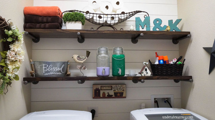 Shiplap laundry room makeover hometalk - Laundry room shelving ideas ...