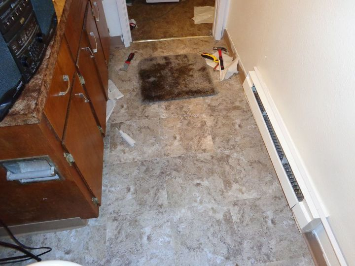 diy self sticking tile, bathroom ideas, diy, flooring, home maintenance repairs, how to, tiling