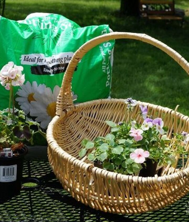 new look for an old basket, container gardening, gardening, repurposing upcycling