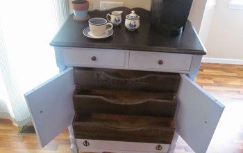antique gentlemen s cabinet turned coffee station, kitchen design, painted furniture, storage ideas