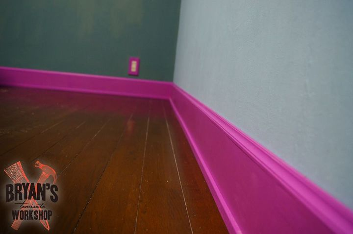 s 9 tricks to turn builder grade baseboards into custom made beauties, wall decor, woodworking projects, Or give boring boards a shocking pop of color