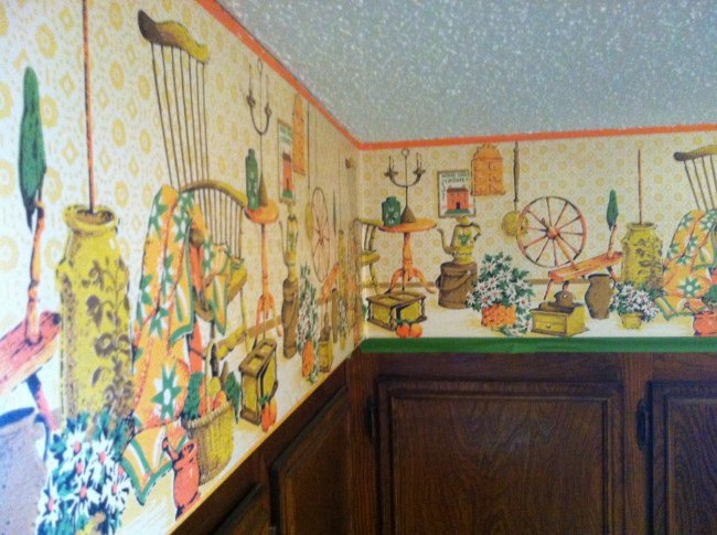 making ugly wallpaper disappear , home maintenance repairs, kitchen design, wall decor