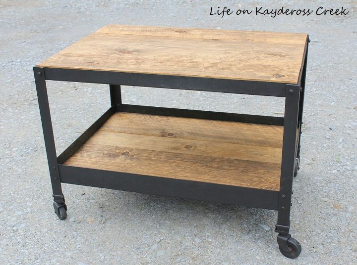 pottery barn inspired industrial style end table, painted furniture, repurposing upcycling, rustic furniture