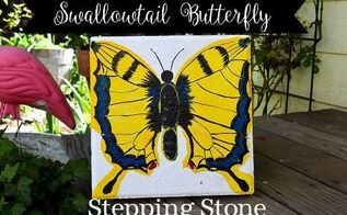 paint a swallowtail stepping stone, concrete masonry, crafts, gardening