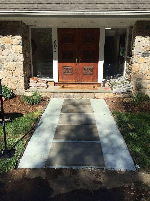 front walkway redo, concrete masonry