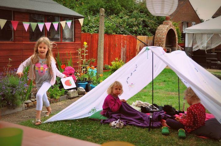 quick outdoor kids tent idea, diy, outdoor furniture, outdoor living