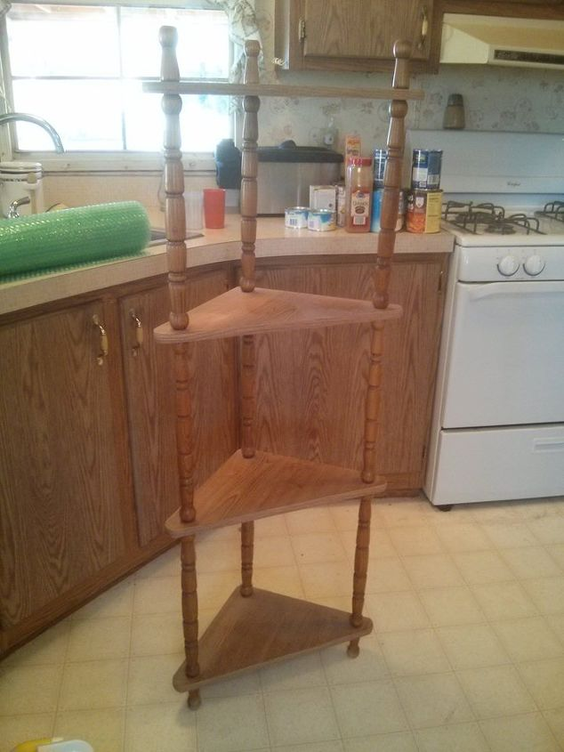 vintage corner shelf divided, diy, painted furniture, shelving ideas, woodworking projects
