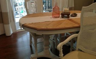 vintage dining table and cane chairs transformation, painted furniture