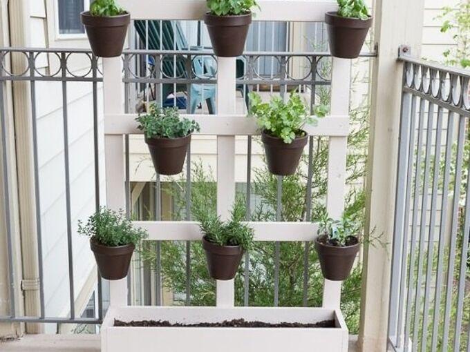 my diy vertical balcony garden, container gardening, diy, gardening, outdoor living, woodworking projects
