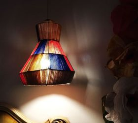 Yarn And Wire Lamp Pendant From A Tomato Cage, Crafts, How To, Lighting
