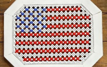 Oversized Cross Stitch American Flag...on a Broken Table!