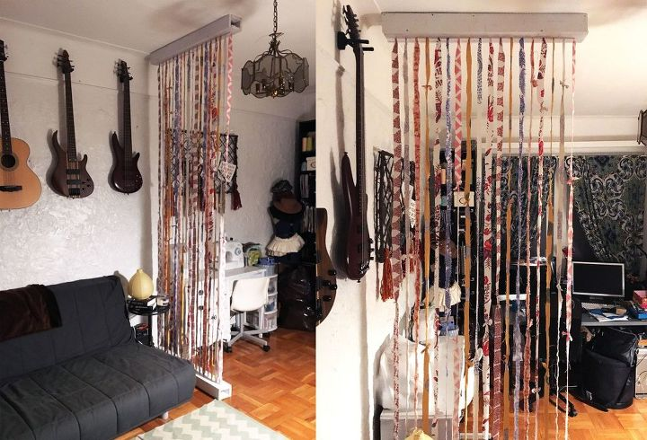 suspended fabric wall room divider, bedroom ideas, how to, wall decor, woodworking projects