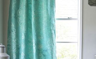 stencil dye your own drop cloth curtain, chalk paint, how to, painting, reupholster, window treatments, windows