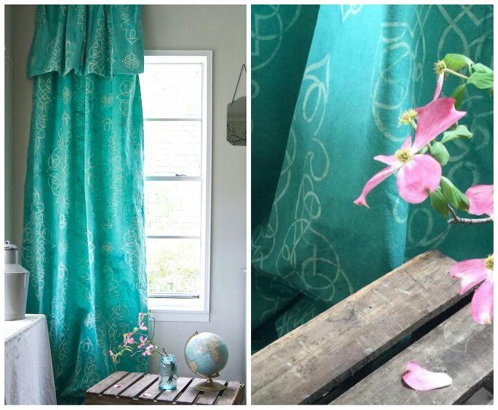 Stencil & Dye Your Own Drop Cloth Curtain | Hometalk