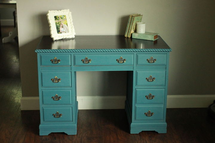 Annie Sloan Aubusson Blue Desk Chalk Paint Painted Furniture
