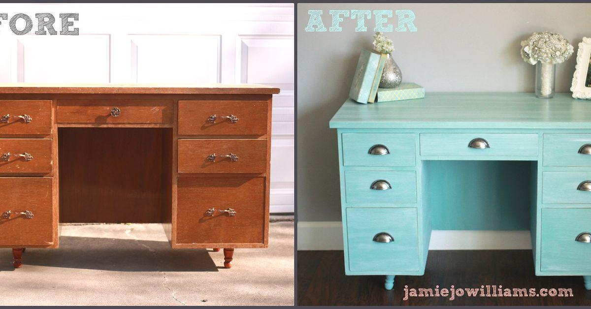Annie Sloan Provence Desk Remodel Hometalk
