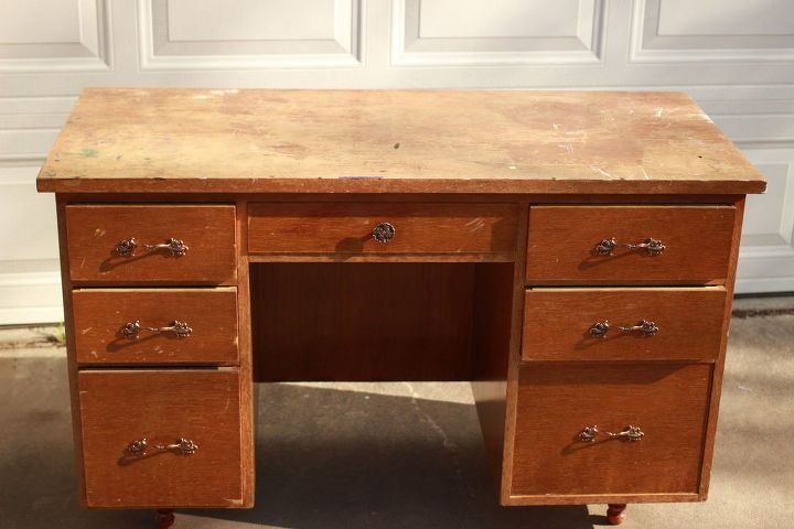 Annie Sloan Provence Desk Remodel Chalk Paint Painted Furniture Shabby Chic