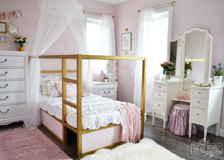 A Shabby Chic Glam Little Girls Bedroom Makeover In Pink Gold
