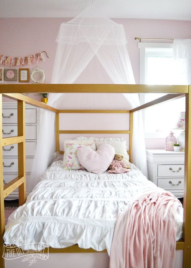 A shabby chic glam little girl 39 s bedroom makeover in pink for Bedroom ideas for girls in their 20s