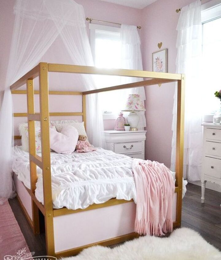 A Shabby Chic Glam Little Girl S Bedroom Makeover In Pink Gold