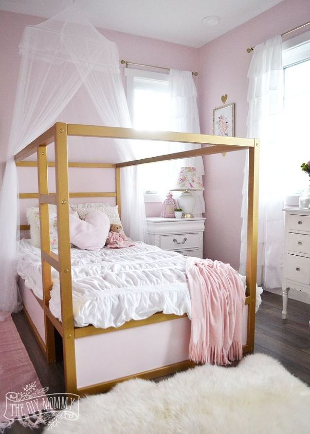 a shabby chic glam little girl s bedroom makeover in pink gold, bedroom ideas, shabby chic