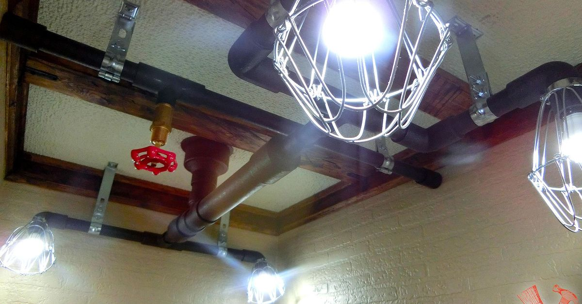 Industrial Lighting Idea Pipe Lights On The Ceiling Hometalk
