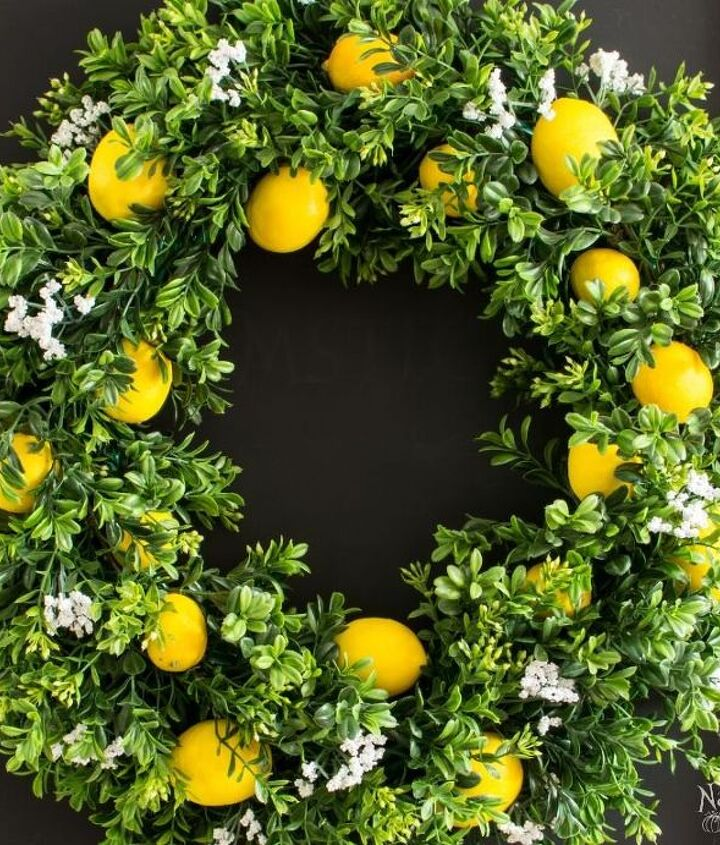 summer lemon wreath with lemon scent , crafts, diy, home decor, outdoor living, wreaths
