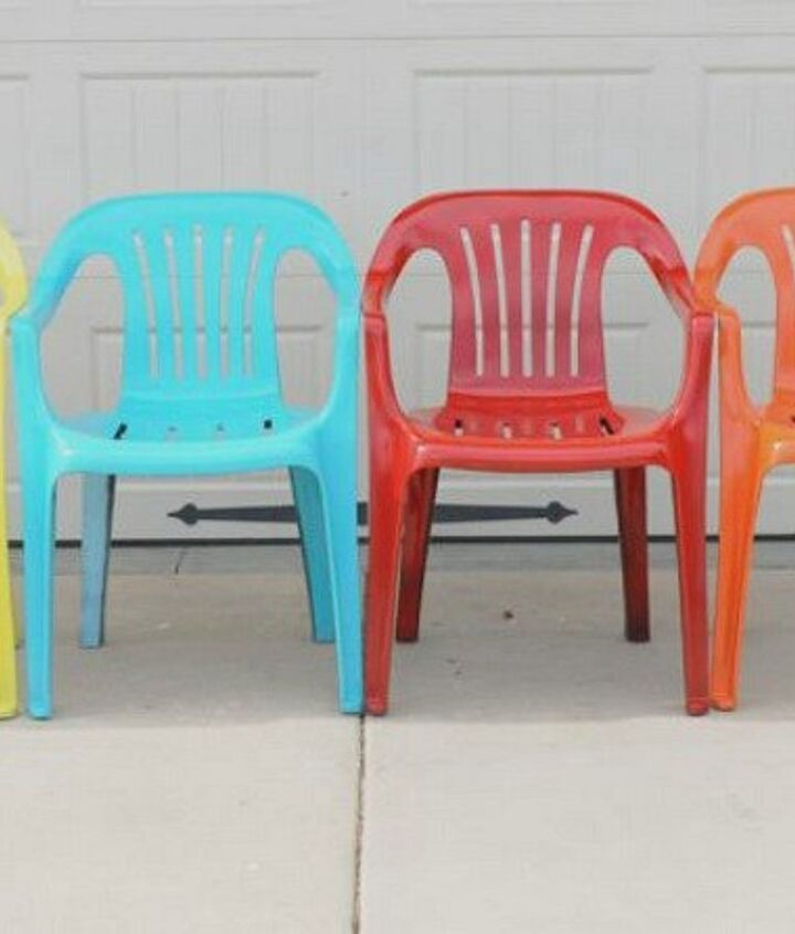 s 12 pool chair ideas we never would have thought of, painted furniture, pool designs, Use a rainbow of colors
