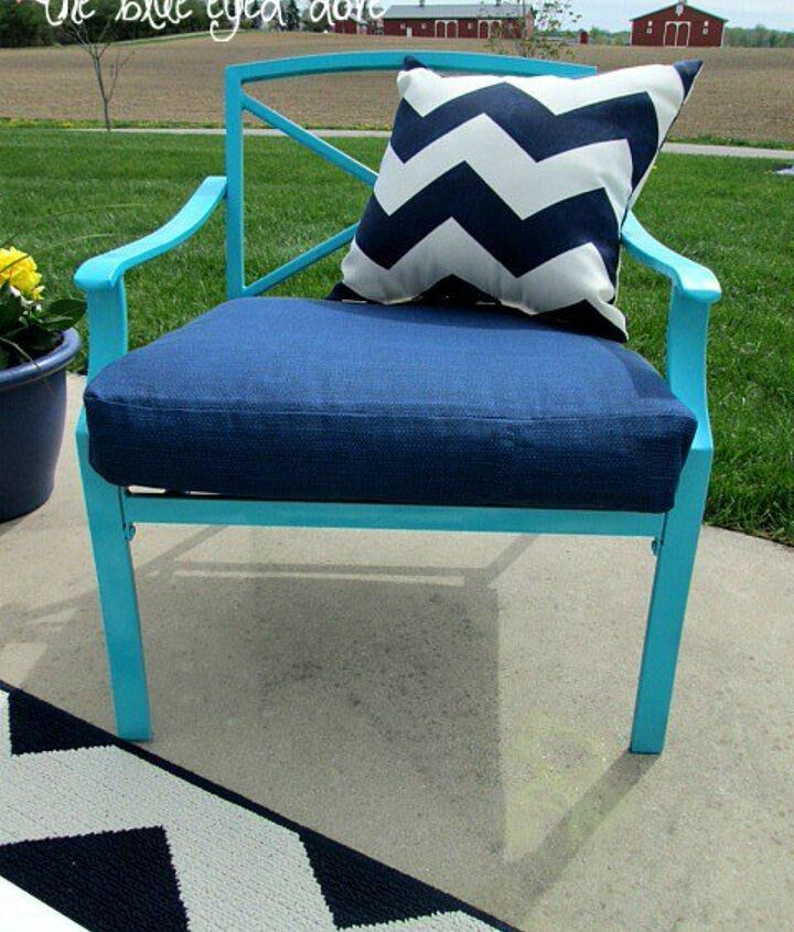 s 12 pool chair ideas we never would have thought of, painted furniture, pool designs, Accessorize with a few waterproof pillows
