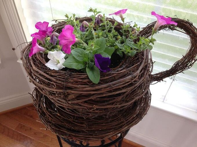 turn grapevine wreaths into a whimsical teacup saucer planter, container gardening, crafts, gardening, how to, wreaths
