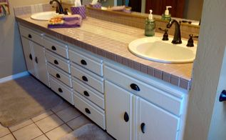 q facelift needed for bathroom tile , bathroom ideas, tiling, Painted cabinets with tile
