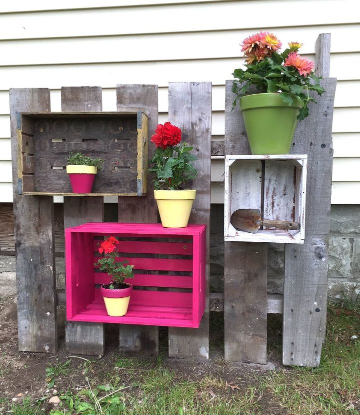 crate planters, container gardening, fences, gardening