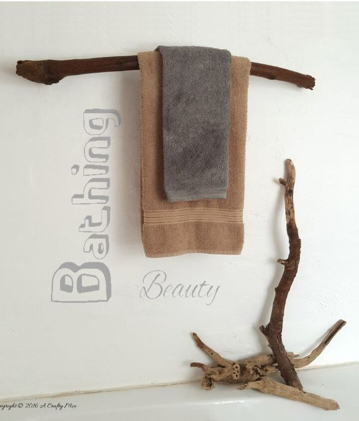 how to turn a branch into a towel rack, bathroom ideas, repurposing upcycling, shelving ideas