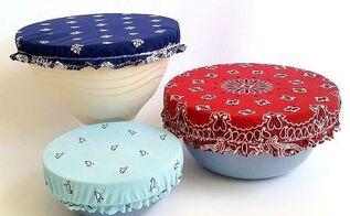 patriotic bandana bowl covers, crafts, how to, patriotic decor ideas, repurposing upcycling, seasonal holiday decor