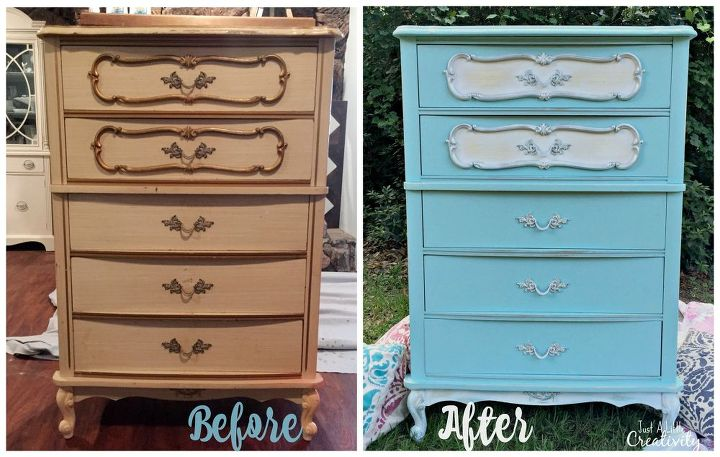 French Provincial Dresser Makeover Before And After Chalk Paint Painted Furniture Shabby Chic