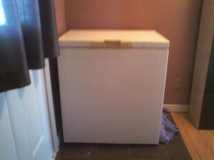 revamped freezer, appliances, chalkboard paint, painted furniture