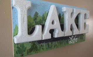 lake life faux weathered wood cottage sign, crafts, wall decor