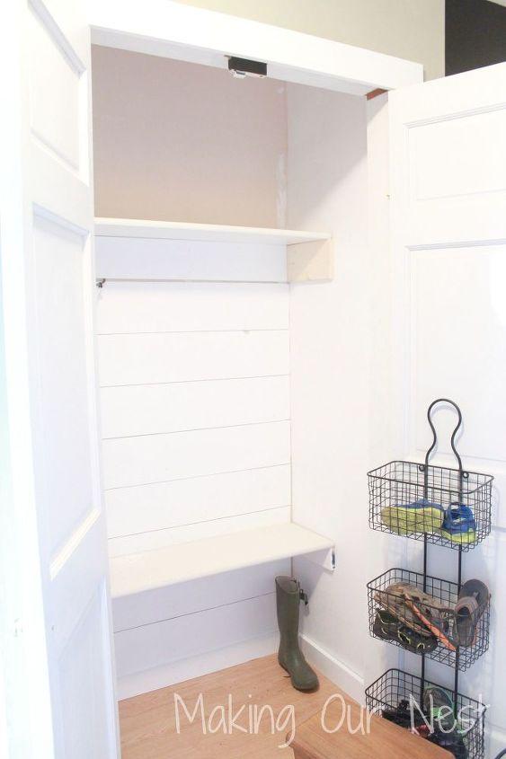 entry closet redo, closet, organizing