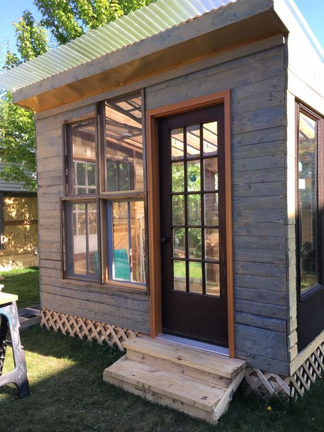 she shed, diy, outdoor furniture, outdoor living, woodworking projects, painted She Shed using a tinted stain