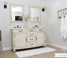 farmhouse style master bathroom makeover, bathroom ideas, painting, rustic furniture
